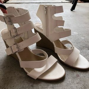 Strappy white wedges with open heel